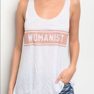 Tops - Womanist White Graphic tank top
